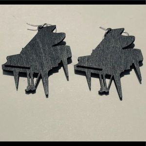 Black Wooden Baby Grand Piano Earrings